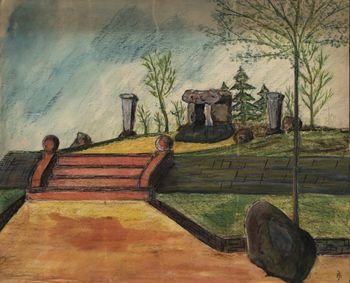 Abb. 4: Entwurfszeichnung der Denkmalanlage von 1934. © Landesamt für Denkmalpflege und Archäologie Sachsen-Anhalt, Archiv.