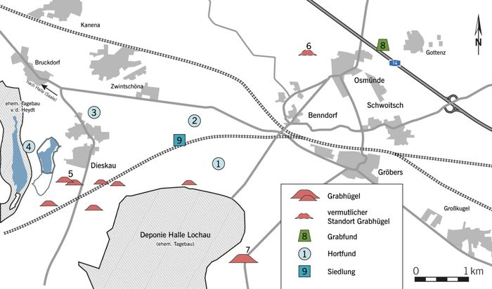 Abb. 1: Die Karte der Mikroregion um Dieskau (Saalekreis) zeigt den Reichtum der frühbronzezeitlichen Fundlandschaft mit umfangreichen Hortfunden und mehreren Grabhügeln, aus denen der gewaltige Bornhöck herausragt. 1: Beilhort Gröbers-Bennewitz I, 2: »Saures Loch« (angeblicher Fundhort des Goldfundes Dieskau I), 3: Hort Dieskau II, 4: Beilhort Dieskau III, 5: Grabhügel »Meiersche Hohe«, 6: Grabhügel »Hallberg« (vermutlicher Standort), 7: Großgrabhügel Bornhöck, 8: Grab von Osmünde (mit Beil und Goldringlein), 9: frühbronzezeitliche Siedlung. © Landesamt für Denkmalpflege und Archäologie Sachsen-Anhalt, Kartierung: Jonathan Schulz; grafische Bearbeitung: Birte Janzen, nach Filipp/Freudenreich 2018, 377 Abb. 1 und TK10).
